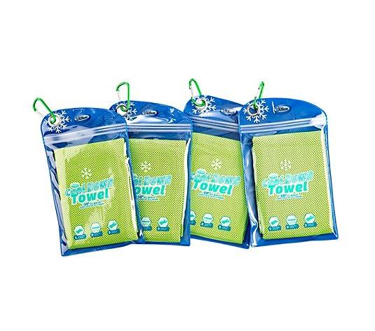 4 x Cool Down Towel kühlendes Handtuch Polybag verschließbar ca 30 x 90 cm NEU