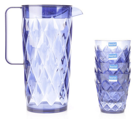 KOZIOL Crystal Karaffe 1,6l inkl. 4 Becher je 250ml stapelbar