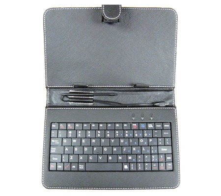 "7"" Android Tablet Keyboard w/ Mini USB, Case, a nd Style Pen"