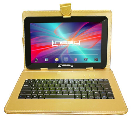 "LINSAY 10.1"" 16GB Tablet with Leather Case andKeyboard"