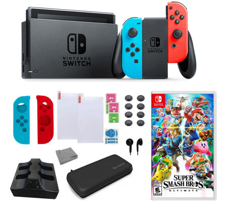 Nintendo Switch in Neon with Super Smash Bros &Accessories