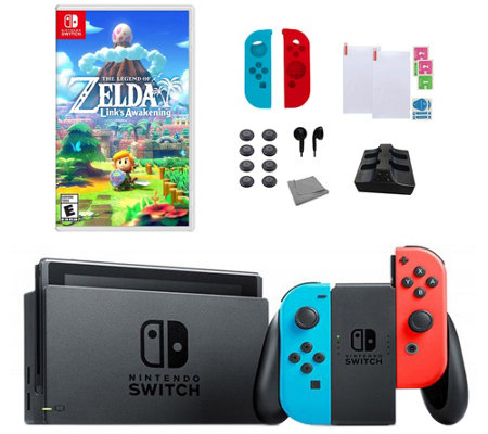 Nintendo Switch Console With Link S Awakening 18 In 1 Kit Qvc Com
