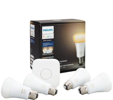 Philips Hue White Ambiance A19 Starter Kit -4-Pack & Hub