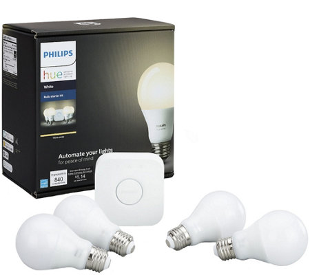 Philips Hue A19 Starter Kit with 4 White Bulbs