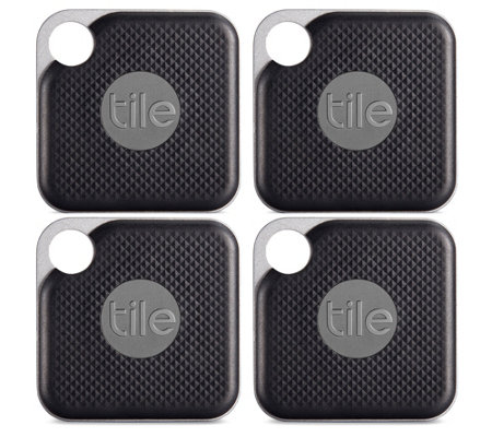 Tile Pro 4-Pack Item Trackers w/ Gift Sleeves Find Lost Items Waterproof