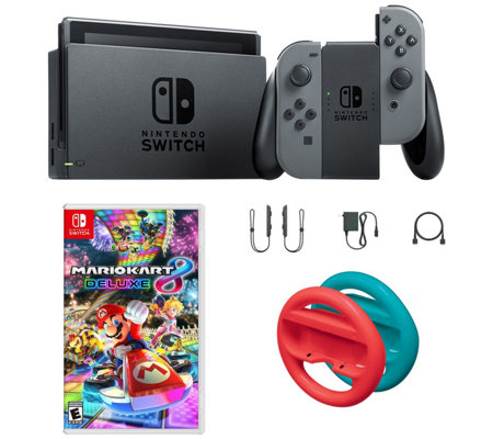 Nintendo Switch Gray With Mario Kart 8 And Redand Blue Wheels Qvc Com