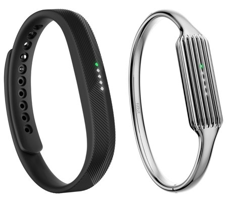 Fitbit Flex 2 w/ Silvertone Stainless Steel Bangle or Necklace