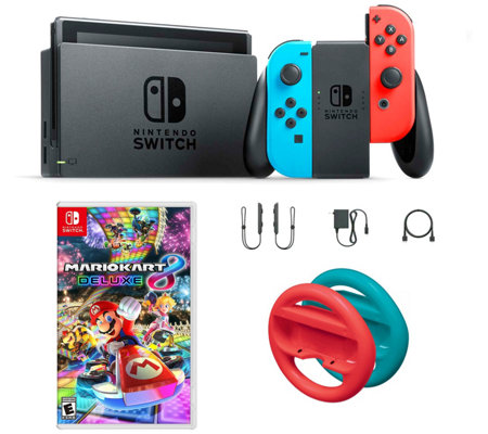 Nintendo Switch Neon With Mario Kart 8 Red And Blue Wheels