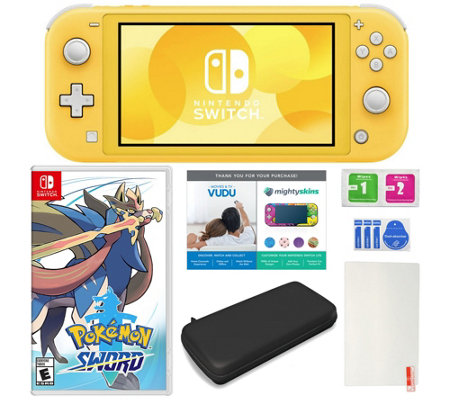 Nintendo Switch Lite with Pokemon Sword and Accessories