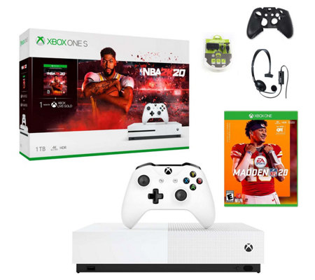 Xbox One S 1tb Console Bundle With Nba 2k20 Madden Nfl 20 Qvc Com