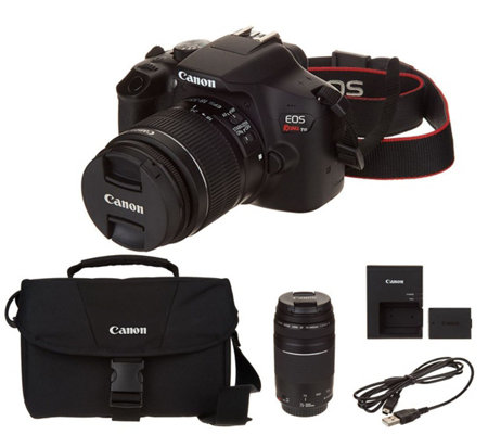 Canon Rebel T6 18MP DSLR Wi-Fi Camera with 18-55,75-300mm Lenses & Accs.
