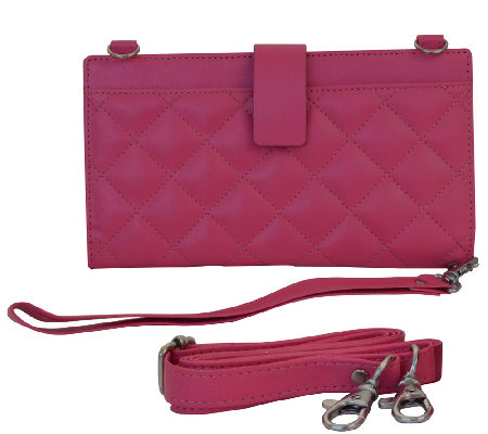 Power and RFID Wallet with Crossbody Strap