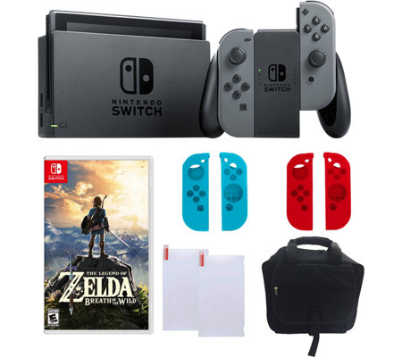 Nintendo Switch Gray With Zelda Sleeves Accessories
