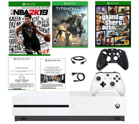 Xbox One S 1TB Bundle with NBA 2K19, Titanfall2 & GTA V — QVC com