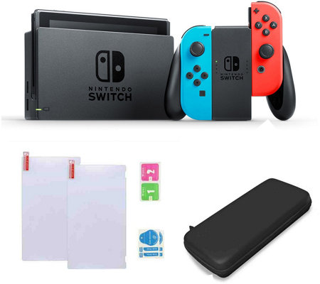 Nintendo Switch Neon Joy Con With Case Screenprotector