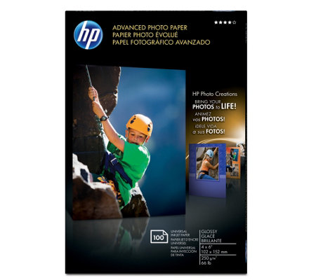 "HP Advanced Photo Paper, Glossy, 4x6"" 100-Count"