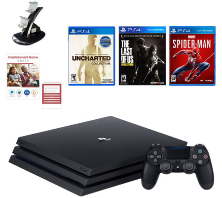 PS4 Pro 1TB Console w/ Spiderman, The Last ofUs, & Uncharted