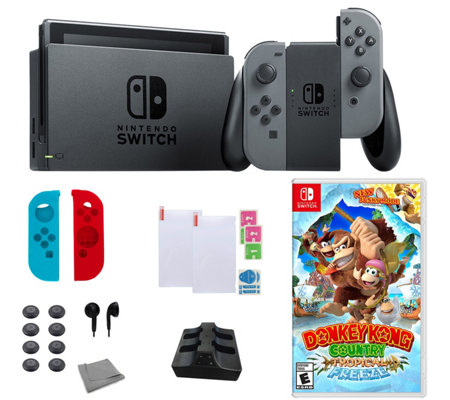 Nintendo Switch with Donkey Kong Country and Accessories