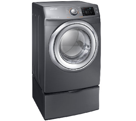 Samsung 7.5 Cu.Ft. Electric Dryer w/ Steam & Pedestal-Platinu