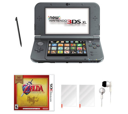 Nintendo 3DS XL with Zelda Game & Accessories -Black