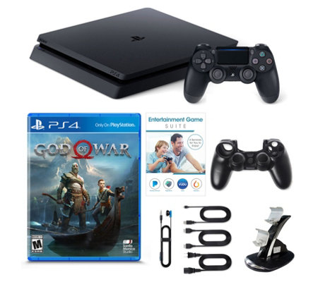 Sony PS4 Slim 1 TB with God of War Game, Voucher & Dual Charger