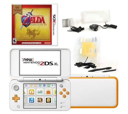 Nintendo 2DS XL with Zelda Game & Accessories -White