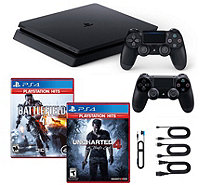 PS4 Slim 1TB Console w/ Uncharted & Battlefield4 & Controllers - E295251