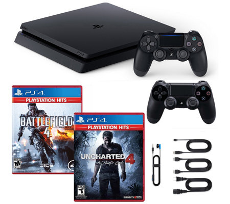 PS4 Slim 1TB Console w/ Uncharted, Battlefield 4 & Controllers