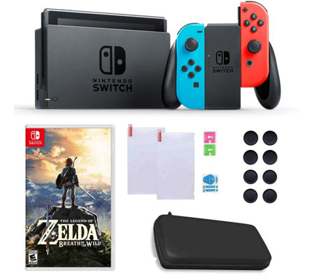 Nintendo Switch with Neon Joy-Con, Zelda & Accessories