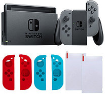Nintendo Switch Gray with Silicone Sleeves & Screen Protector - E292257