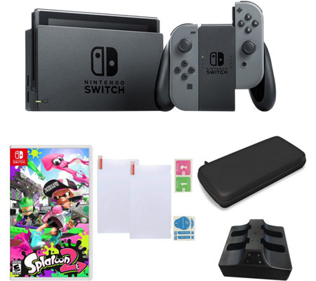 Nintendo Switch Gray with Splatoon 2 and Accessories
