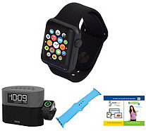 Apple Watch Series 1 38mm with iHome BluetoothAlarm Clock - E294861