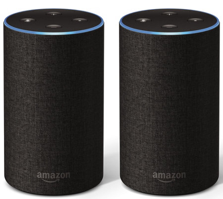 2-Pack Amazon Echo 2nd Gen Smart Speaker with Voucher