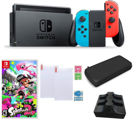Nintendo Switch Neon with Splatoon 2 and Accessories