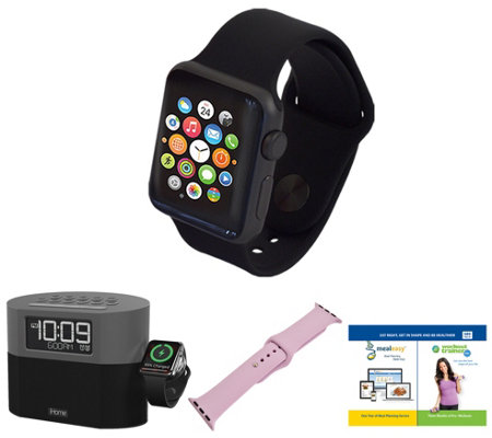 Apple Watch Series 1 42mm with iHome BluetoothAlarm Clock