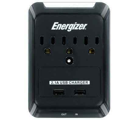 Energizer 3-Outlet Wall Tap + 2 USB Ports