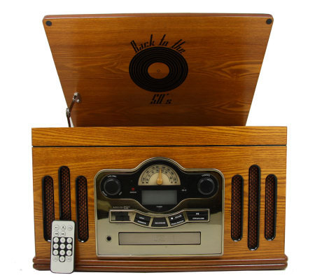 Back to the 50s 3-Speed Wooden Turntable and CDPlayer
