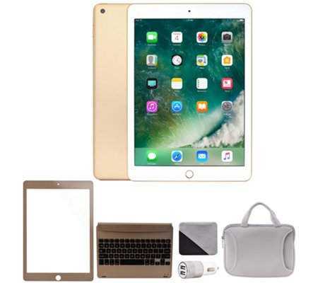 "Apple 2018 iPad 9.7"" 128GB Wi-Fi & Cellular Bundle - Gold"