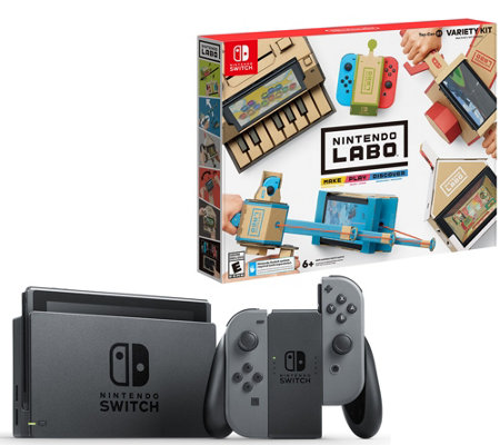 Nintendo Switch Bundle w/ 4 Games, Case & Labo Variety Pack