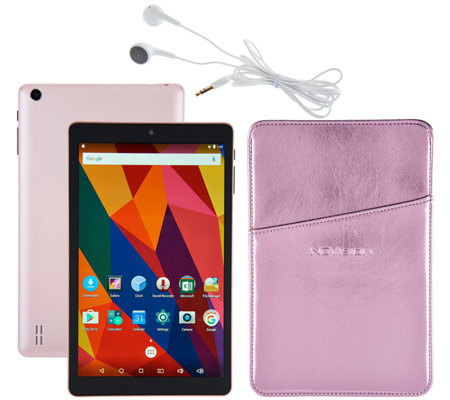 "NuVision 8"" HD Android 16GB Quad Core Tablet with Case &Headphone"