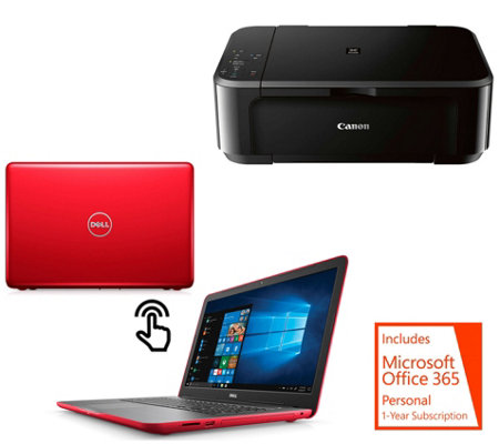 "Dell 15"" Touch Laptop, Core i3 8GB RAM 1TB HDD 1-Yr ADP, Canon Printer, Office"