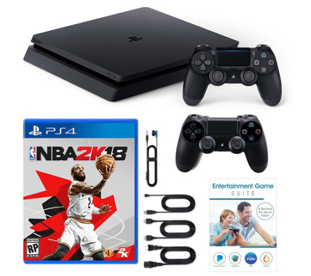 Sony PS4 1TB Bundle w/ NBA 2k18, 2 Controllers & App Pack
