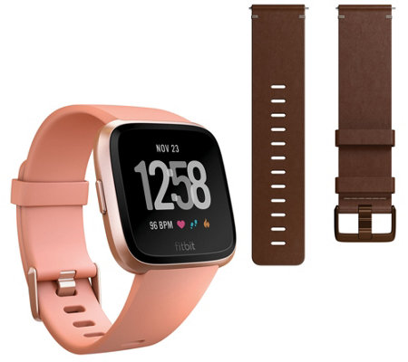 Fitbit Versa Smartwatch with Small Additional Leather Band