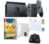 Nintendo Switch w/ Pokemon: Let's Go Pikachu & Accs - E296573