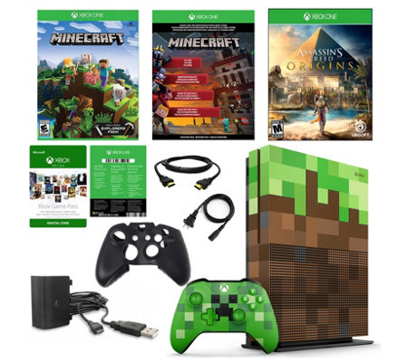 Xbox One S 1 TB Minecraft Console w/ Assassin'sCreed Origins