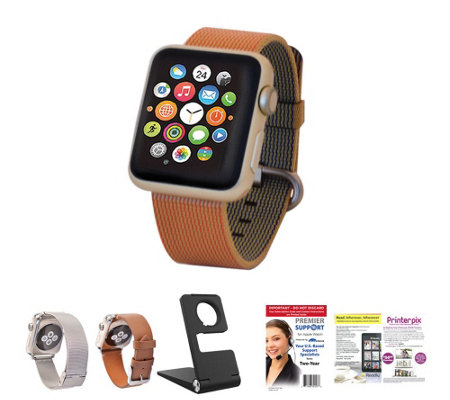 Apple Watch - 38mm Face with Woven Band, 2 Additional Bands & Stand