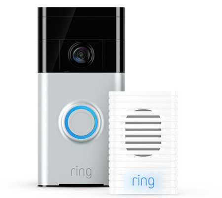 Ring Video Doorbell Two-Way Audio HD Surveillance w/ Chime