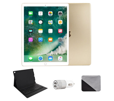 "Apple iPad Pro 12.9"" 256GB Wi-Fi & BluetoothKeyboard - Gold"