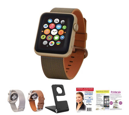 Apple Watch - 42mm Woven Band w/ 2 Additional Bands, Stand and Software
