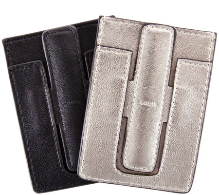 Lodis Genuine Leather Cell Phone Stand And Card Holder 2 Pack
